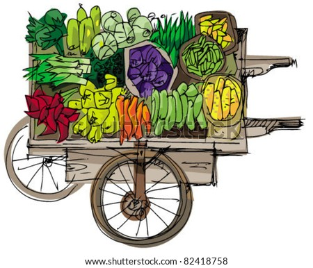 wooden vintage retail cart with vegetables