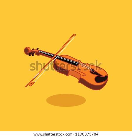 Wooden violin with bow vector flat design illustration Stock fotó ©
