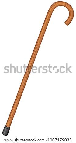 wooden walking stick cane