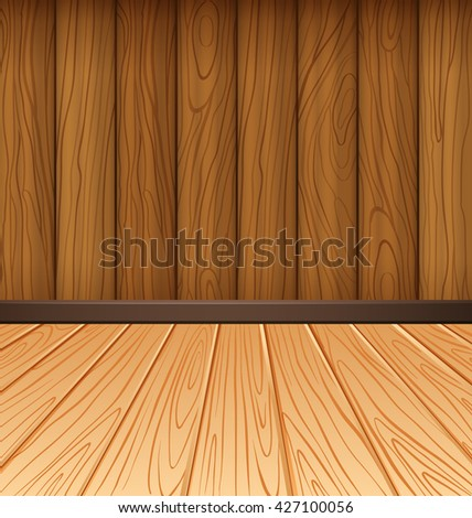Wooden wall and wooden tiles illustration