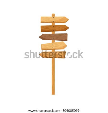 Wooden way direction sign isolated element. Vector illustration
