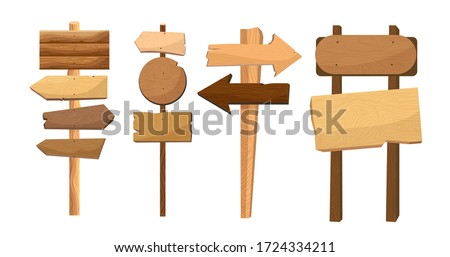 Wooden way direction sign. Vintage board on pole from brown hardwood layout for information or advertising message. Textured wooden sign board and direction arrows cartoon vector illustration