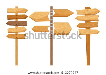 Wooden way direction signs on white background. Vector illustration