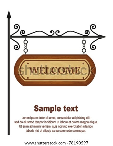 Wooden Welcome sign. Vector