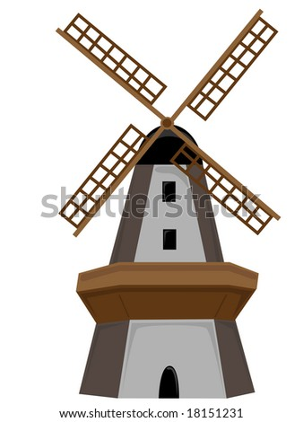 Wooden Windmill isolated with door and windows
