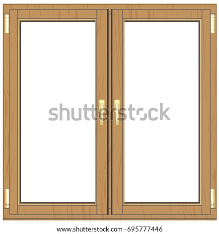 Wooden window with furniture #695777446