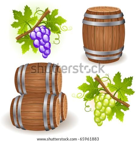 Wooden wine barrels and grape