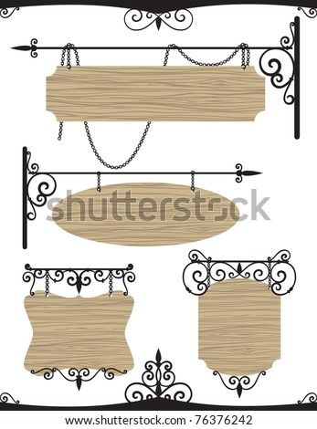 Wooden wrought iron vintage signs set