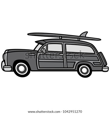 Woodie Surf Wagon Illustration - A vector cartoon illustration of a Woodie Surf Wagon.