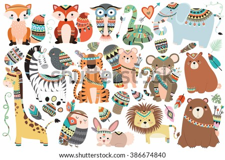 Shutterstock Woodland and Jungle Tribal Animals Isolated Vector Set