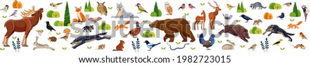 Woodland animals and birds. Big Set of forest animals and birds including deer, rabbit, hedgehog, bear, fox, snake, moose, wolf, raccoon, bird, owl, and squirrel. Cartoon flat vector illustration.