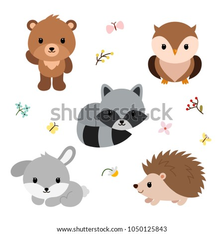 Woodland animals and decor elements set. Vector illustration isolated on white background.