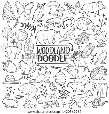 Woodland Animals Forest Traditional Doodle Icons Sketch Hand Made Design Vector stock photo
