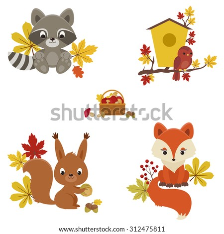 woodland animals in autumn time