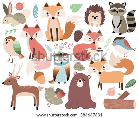woodland animals isolated