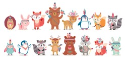 Woodland Boho characters -  bear, fox, raccoon, hedgehog, penguin, deer, rabbit, owl and squirrel. Cute forest animals. Vector illustration.