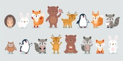 woodland characters -  bear, fox, raccoon, hedgehog, penguin, deer, rabbit, owl and squirrel. Cute forest animals. Vector illustration.
