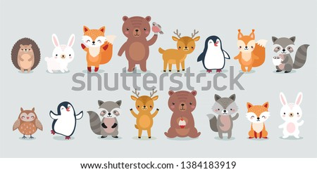 woodland characters -  bear, fox, raccoon, hedgehog, penguin, deer, rabbit, owl and squirrel. Cute forest animals. Vector illustration. stock photo