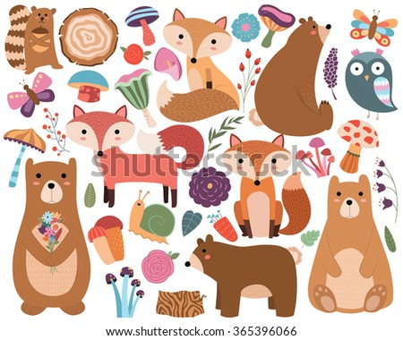 woodland forest animals and