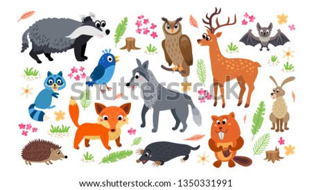 Woodland Forest Animals set isolated on white background. Collection of cartoon character and nature design elements in flat style. Childish poster with animals #1350331991