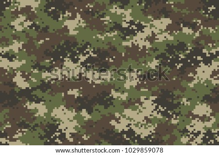Woodland summer camouflage. Trendy style camo, repeat print. Vector illustration.