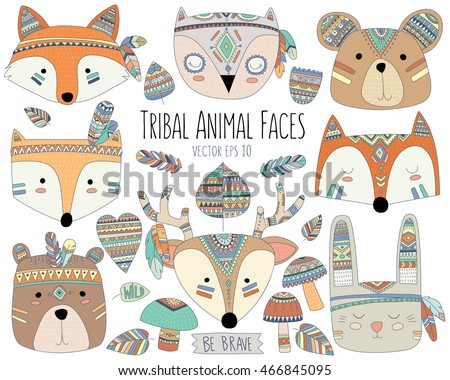 woodland tribal animal faces