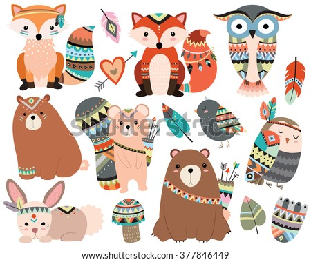 woodland tribal animals cute