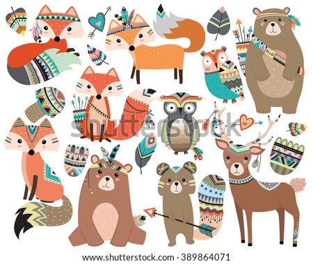 Woodland Tribal Forest Animals Vol.2 Isolated Vector Set