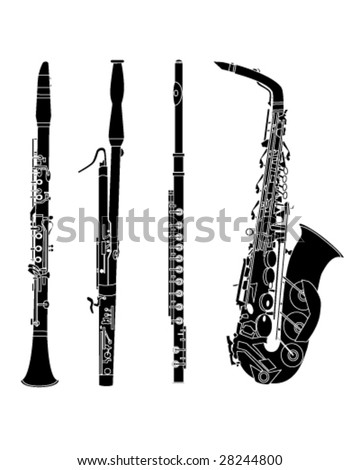 Woodwind musical instruments set in detailed vector silhouette