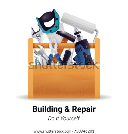 Woodworker carpenter repairman house renovation worker or do yourself instruments in wooden toolbox realistic image vector illustration