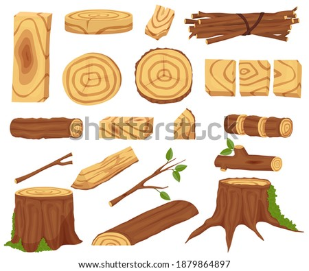 woodworking industry set. Wooden logs for the timber and timber industry. Trunks, stumps and planks illustration. Wooden elements, logs and tree trunks. Vector illustration