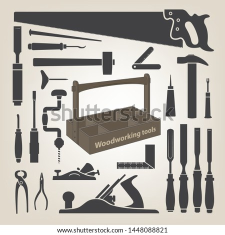 woodworking tools, tools box vector