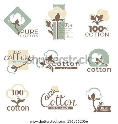 Wool and cotton isolated icons pure and organic product vector knitting and textile industry plant emblem or logo clothes label organic plant and agriculture field plantation fabric quality fiber.