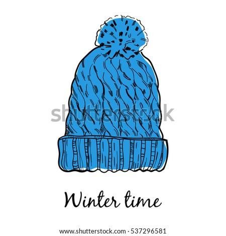 Wool warm winter hat. Vector template.
