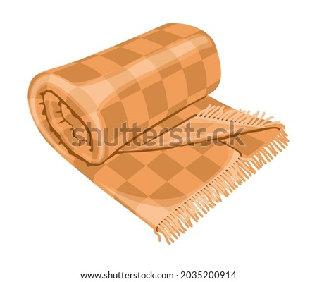 Woolen checkered plaid with fringe or warm rolled tartan blanket isolated on white background. Home decoration in Hygge style, decorative design element. vector illustration. Stockfoto ©