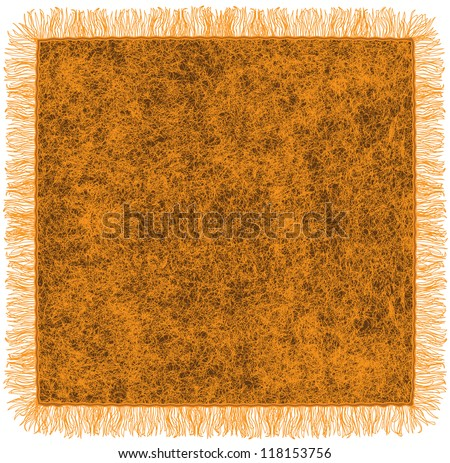 Woollen blanket with fringe in orange and brown colors