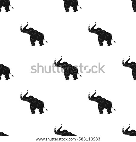 Woolly mammoth icon in black style isolated on white background. Stone age pattern stock vector illustration.