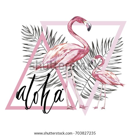 word  aloha two flamingos with