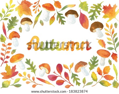 word autumn in watercolor