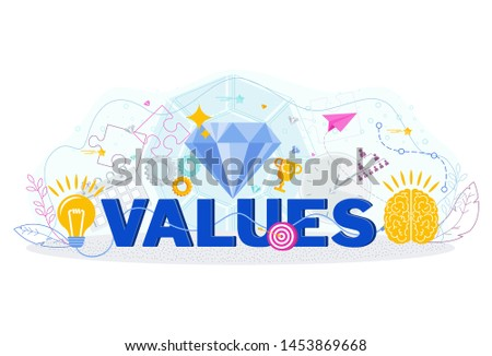 Word business value typography. Mission, vision and key values of the company. Development strategy, marketing concept.