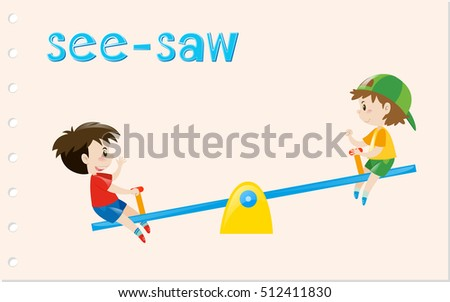 Word card with two boys on see-saw illustration