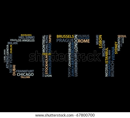 Word city made from names of big cities