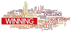 Word cloud containing words related to success, accomplishment, winning, achievement, experience, creativity, triumph, victory, performance, excellence, competence and other business related words.