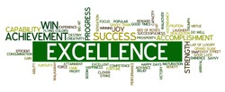 Word cloud containing words related to success, accomplishment, winning, achievement, strength, creativity, triumph, victory, performance, excellence, fortune and other business related words.