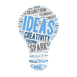 Word Cloud - Creativity, Inspiration and Ideas. word cloud about the creative process, grey, blue, white. Isolated Light Bulb Shape