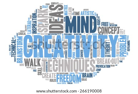 Word Cloud - Creativity, Inspiration and Ideas. word cloud about the creative process, grey, blue, white. Cloud Shaped