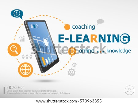 Word Cloud E-Learning concept and realistic smartphone black color. Infographic business for graphic or web design layout
