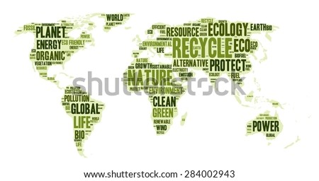 word cloud in a shape of world