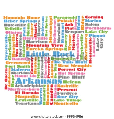word cloud map of Arkansas state