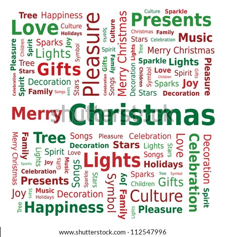 Word Cloud - Merry Christmas - stock vector